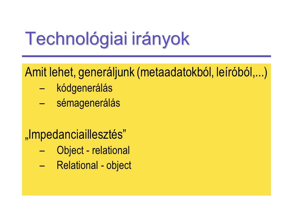 """Technológiai irányok Amit lehet, generáljunk (metaadatokból, leíróból,...) –kódgenerálás –sémagenerálás """"Impedanciaillesztés –Object - relational –Relational - object"""