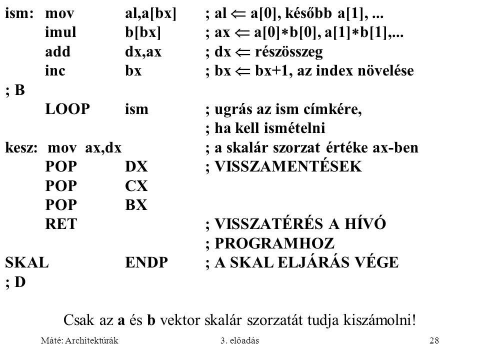 Máté: Architektúrák3.előadás28 ism:moval,a[bx]; al  a[0], később a[1],...