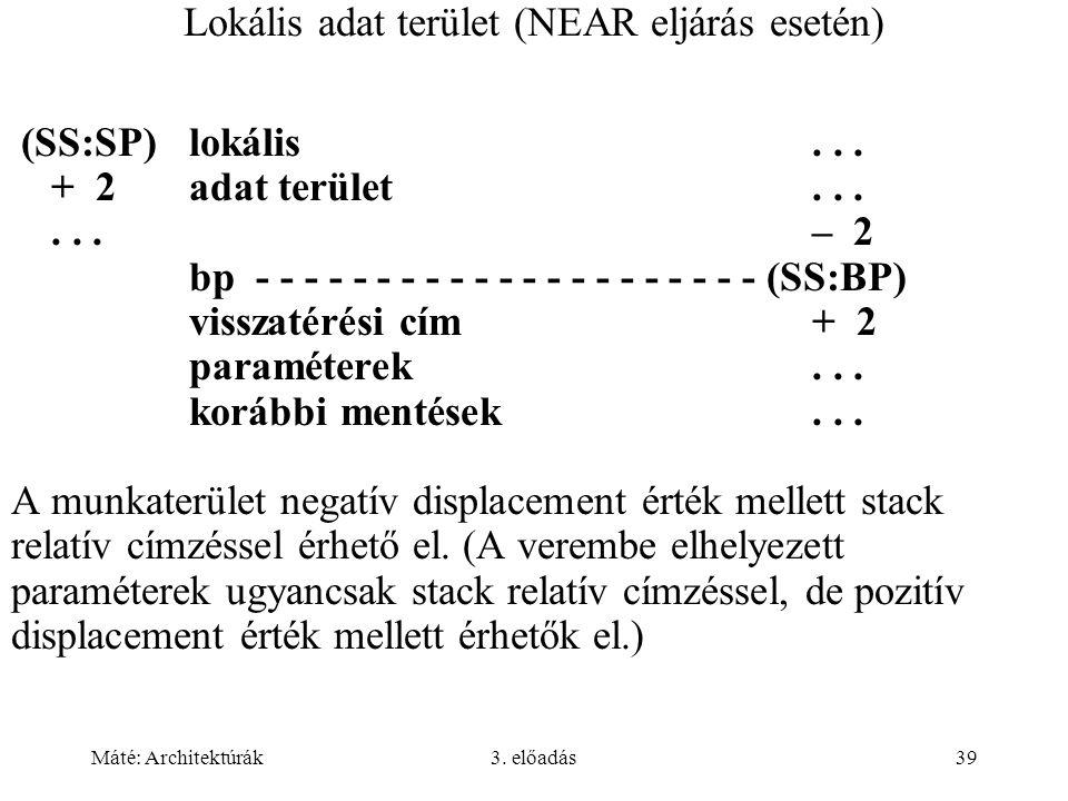 Máté: Architektúrák3.előadás39 Lokális adat terület (NEAR eljárás esetén) (SS:SP)lokális...