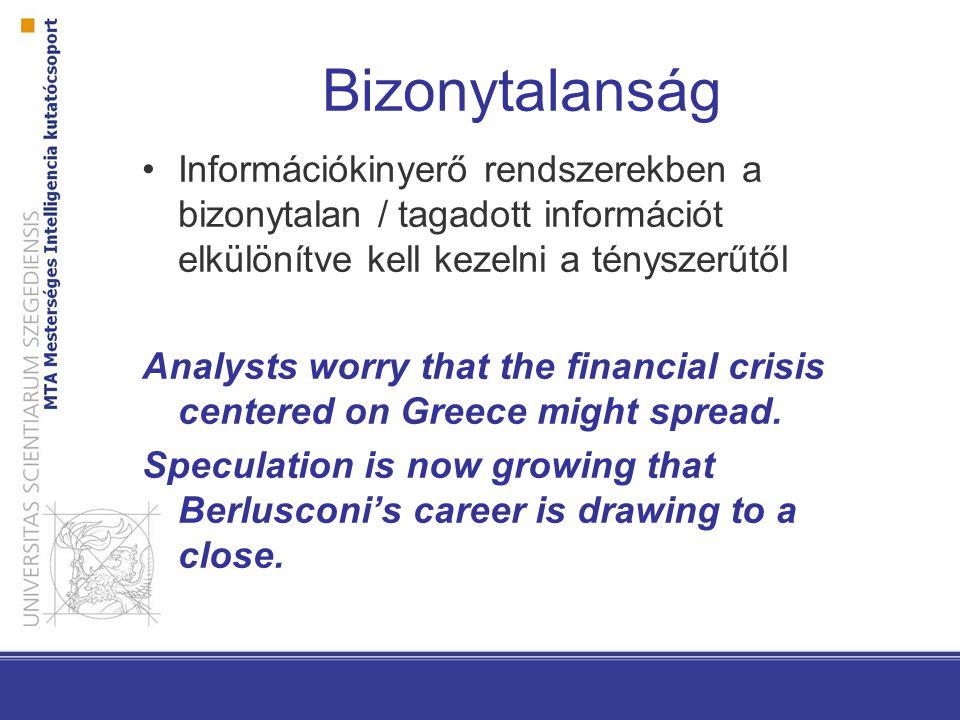 Bizonytalanság Információkinyerő rendszerekben a bizonytalan / tagadott információt elkülönítve kell kezelni a tényszerűtől Analysts worry that the financial crisis centered on Greece might spread.