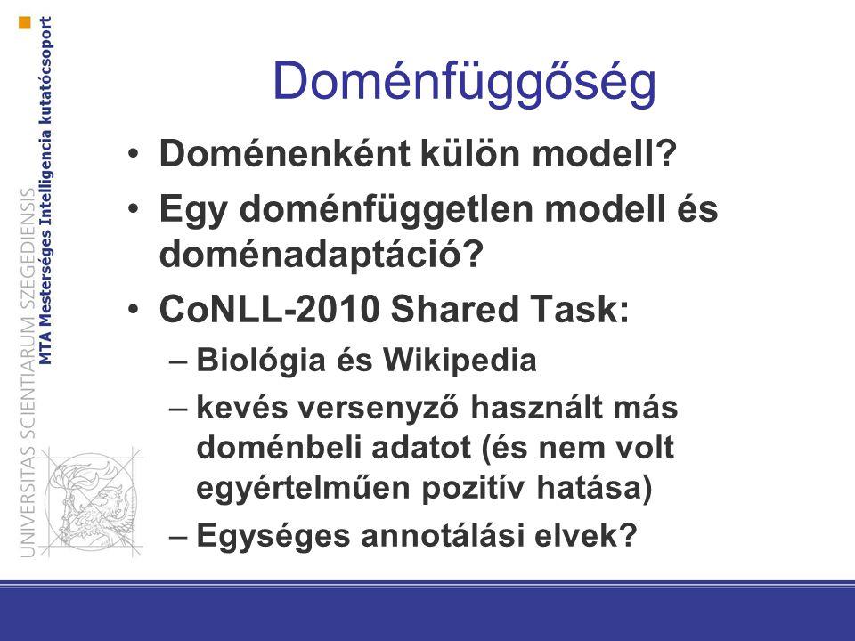 Doménfüggőség Doménenként külön modell? Egy doménfüggetlen modell és doménadaptáció? CoNLL-2010 Shared Task: –Biológia és Wikipedia –kevés versenyző h