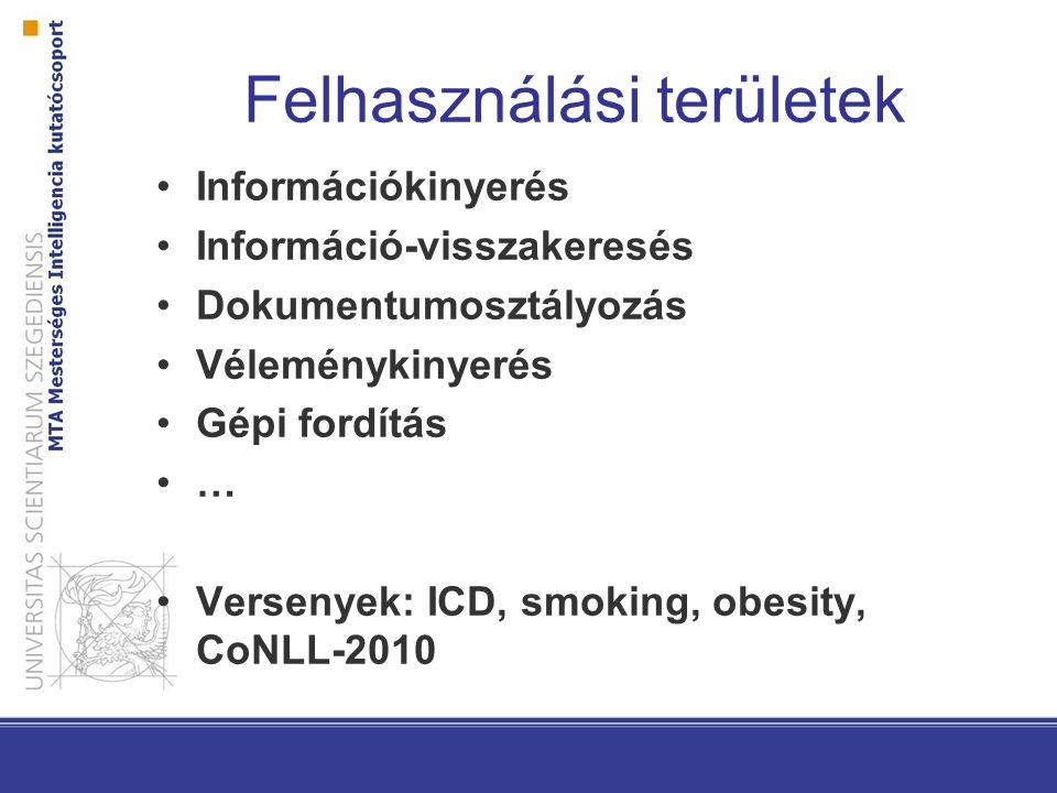 Felhasználási területek Információkinyerés Információ-visszakeresés Dokumentumosztályozás Véleménykinyerés Gépi fordítás … Versenyek: ICD, smoking, obesity, CoNLL-2010