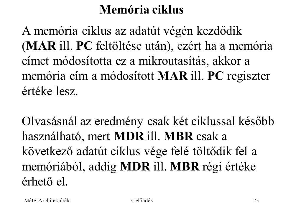 Máté: Architektúrák5. előadás25 Memória ciklus A memória ciklus az adatút végén kezdődik (MAR ill. PC feltöltése után), ezért ha a memória címet módos