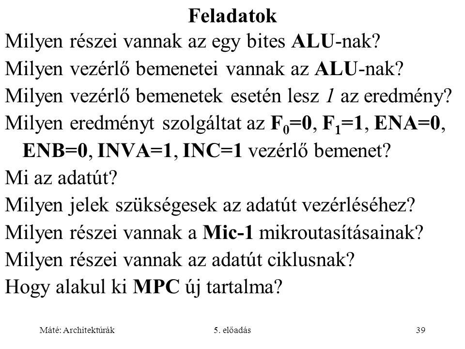 Máté: Architektúrák5. előadás39 Feladatok Milyen részei vannak az egy bites ALU-nak? Milyen vezérlő bemenetei vannak az ALU-nak? Milyen vezérlő bemene