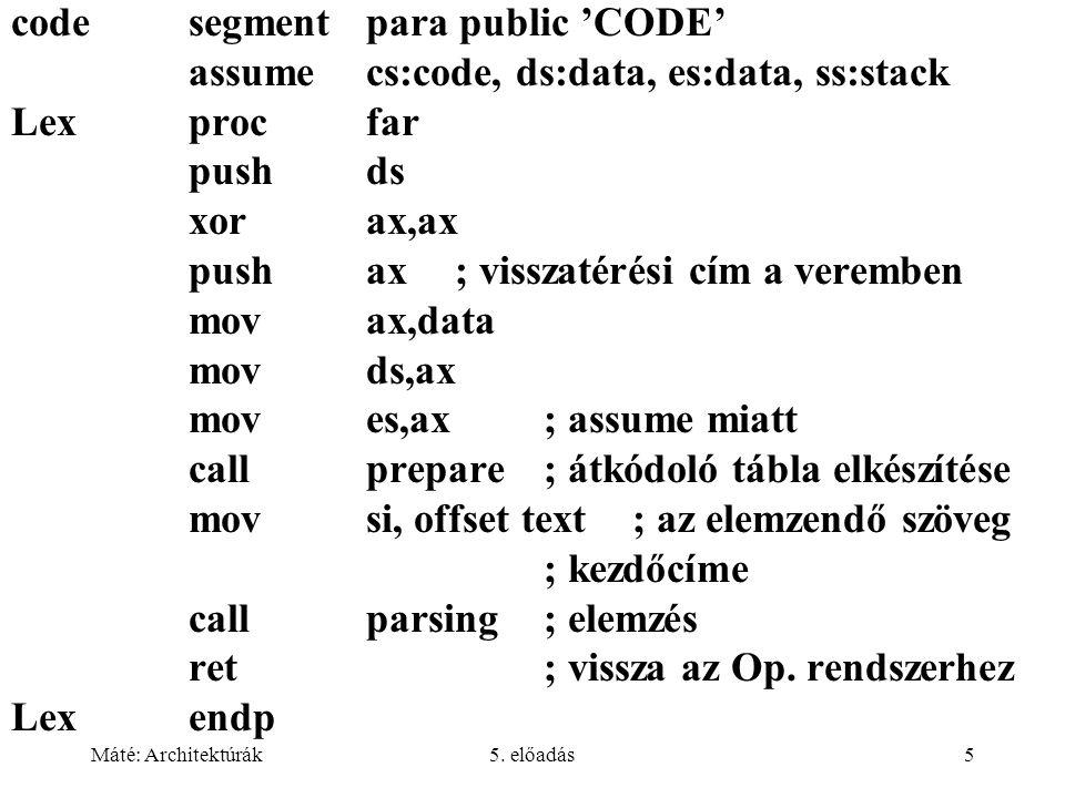 Máté: Architektúrák5. előadás5 codesegment para public 'CODE' assume cs:code, ds:data, es:data, ss:stack Lexprocfar pushds xorax,ax pushax; visszatéré
