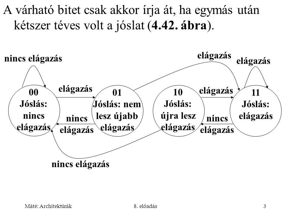 Máté: Architektúrák8. előadás3 A várható bitet csak akkor írja át, ha egymás után kétszer téves volt a jóslat (4.42. ábra). nincs elágazás 01 Jóslás: