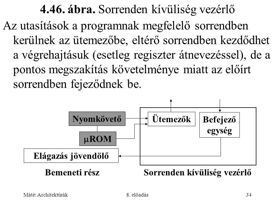 Máté: Architektúrák8. előadás34 4.46. ábra. Sorrenden kívüliség vezérlő Az utasítások a programnak megfelelő sorrendben kerülnek az ütemezőbe, eltérő