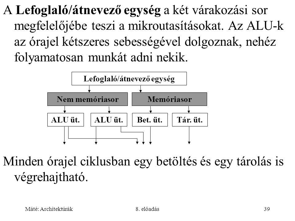 Máté: Architektúrák8. előadás39 A Lefoglaló/átnevező egység a két várakozási sor megfelelőjébe teszi a mikroutasításokat. Az ALU-k az órajel kétszeres