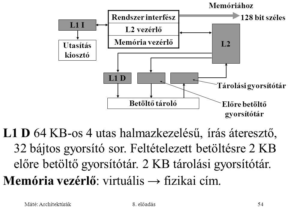 Máté: Architektúrák8. előadás54 Rendszer interfész L2 vezérlő Memória vezérlő L1 D L2 Betöltő tároló Tárolási gyorsítótár Előre betöltő gyorsítótár Me