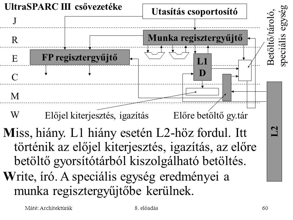 Máté: Architektúrák8. előadás60 UltraSPARC III csővezetéke Munka regisztergyűjtő FP regisztergyűjtő JRECMWJRECMW L1 D L2 Utasítás csoportosító Előjel