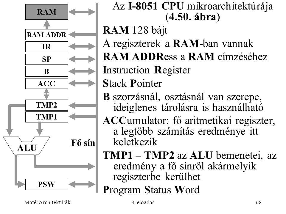 Máté: Architektúrák8. előadás68 Az I-8051 CPU mikroarchitektúrája (4.50. ábra) RAM 128 bájt A regiszterek a RAM-ban vannak RAM ADDRess a RAM címzéséhe