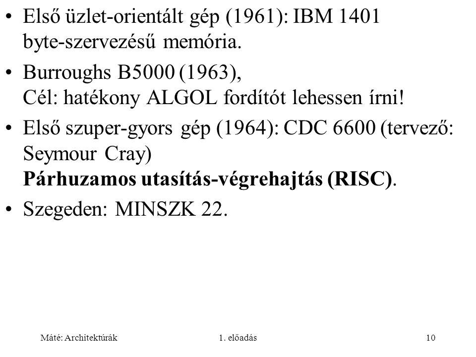 Máté: Architektúrák1. előadás10 Első üzlet-orientált gép (1961): IBM 1401 byte-szervezésű memória.