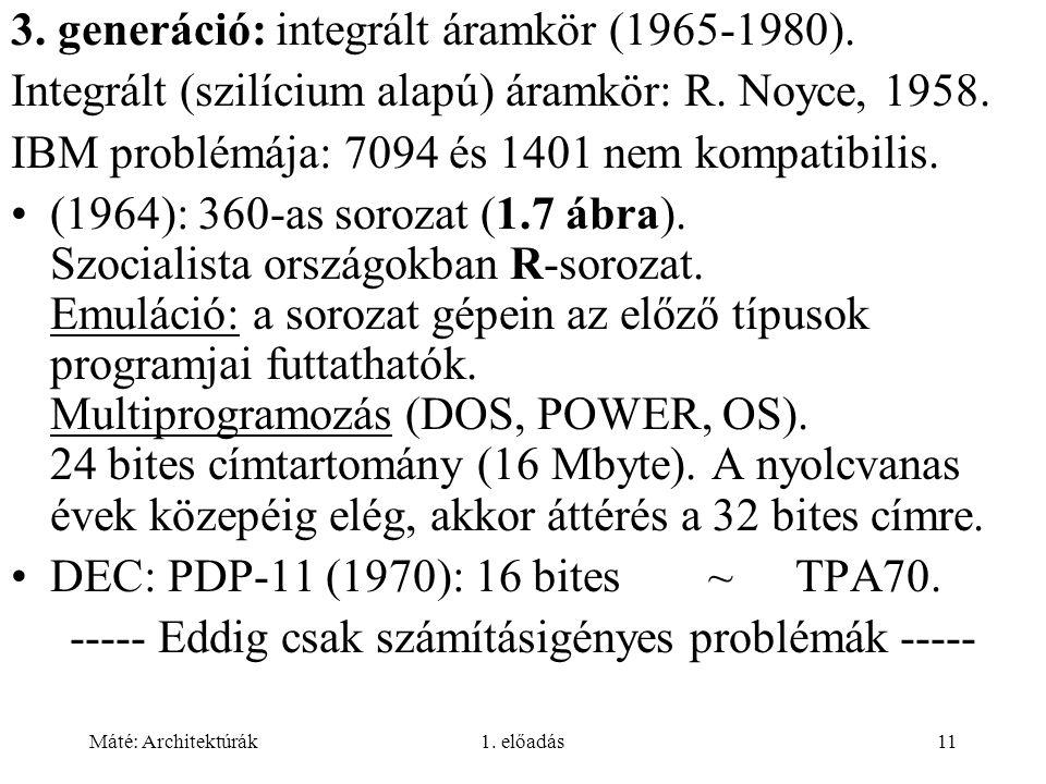 Máté: Architektúrák1. előadás11 3. generáció: integrált áramkör (1965-1980).