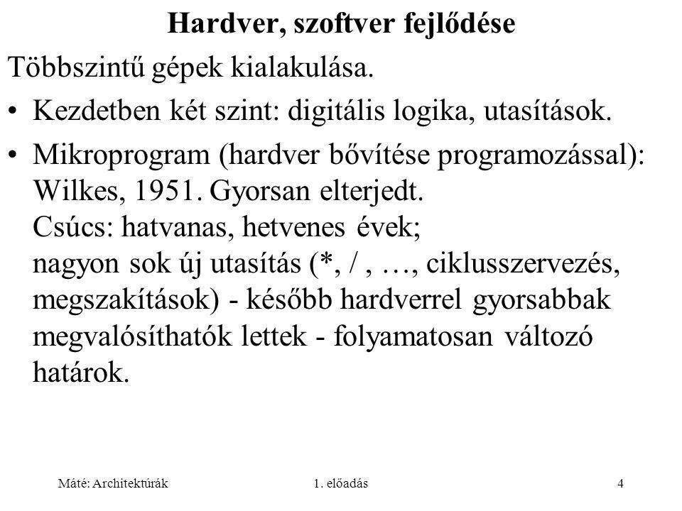 Máté: Architektúrák1. előadás4 Hardver, szoftver fejlődése Többszintű gépek kialakulása.