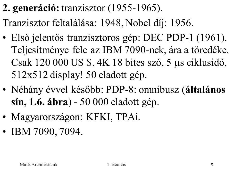 Máté: Architektúrák1. előadás9 2. generáció: tranzisztor (1955-1965).
