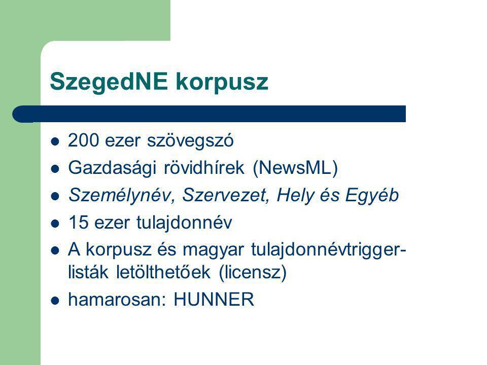 SzegedNE korpusz 200 ezer szövegszó Gazdasági rövidhírek (NewsML) Személynév, Szervezet, Hely és Egyéb 15 ezer tulajdonnév A korpusz és magyar tulajdonnévtrigger- listák letölthetőek (licensz) hamarosan: HUNNER
