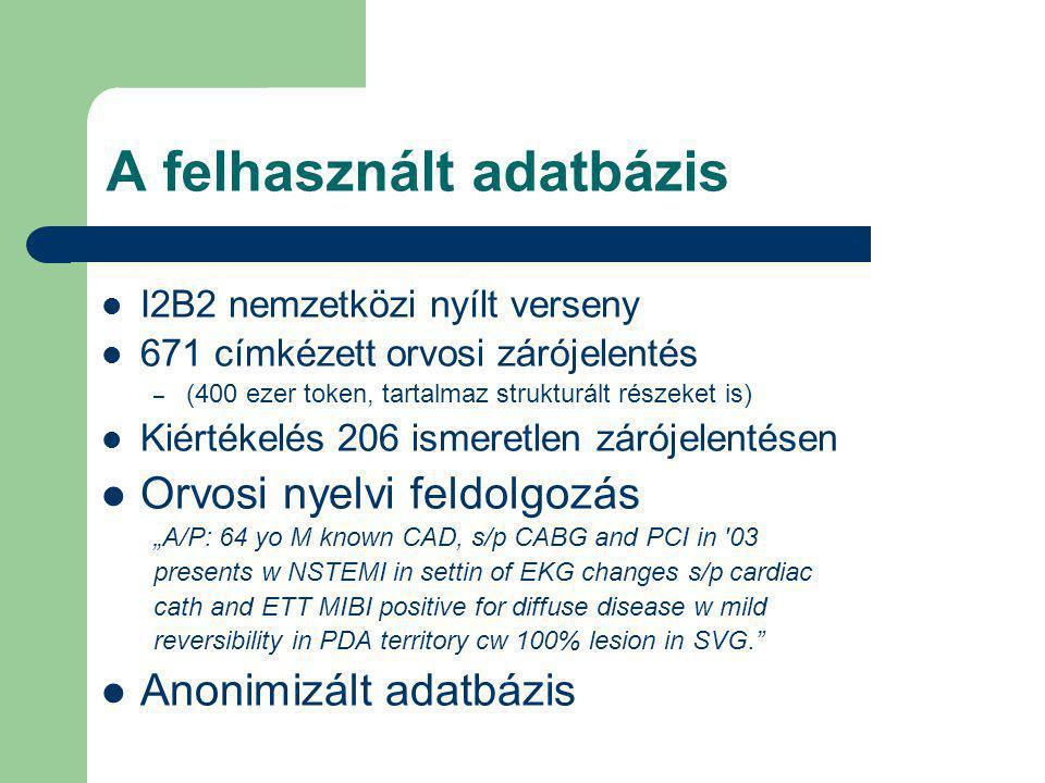 """A felhasznált adatbázis I2B2 nemzetközi nyílt verseny 671 címkézett orvosi zárójelentés – (400 ezer token, tartalmaz strukturált részeket is) Kiértékelés 206 ismeretlen zárójelentésen Orvosi nyelvi feldolgozás """"A/P: 64 yo M known CAD, s/p CABG and PCI in 03 presents w NSTEMI in settin of EKG changes s/p cardiac cath and ETT MIBI positive for diffuse disease w mild reversibility in PDA territory cw 100% lesion in SVG. Anonimizált adatbázis"""