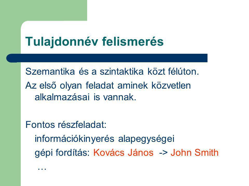 Tulajdonnév felismerés Szemantika és a szintaktika közt félúton.