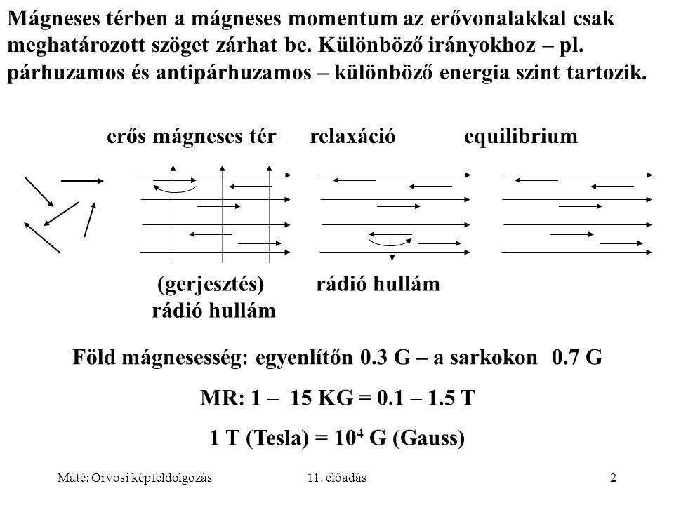 Máté: Orvosi képfeldolgozás11. előadás2 Mágneses térben a mágneses momentum az erővonalakkal csak meghatározott szöget zárhat be. Különböző irányokhoz