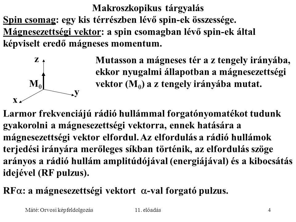 Máté: Orvosi képfeldolgozás11. előadás4 Makroszkopikus tárgyalás Spin csomag: egy kis térrészben lévő spin-ek összessége. Mágnesezettségi vektor: a sp