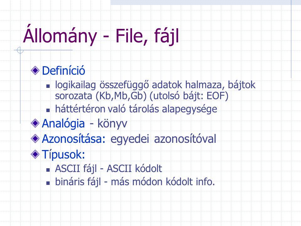 Állomány - File, fájl Definíció logikailag összefüggő adatok halmaza, bájtok sorozata (Kb,Mb,Gb) (utolsó bájt: EOF) háttértéron való tárolás alapegysége Analógia - könyv Azonosítása: egyedei azonosítóval Típusok: ASCII fájl - ASCII kódolt bináris fájl - más módon kódolt info.