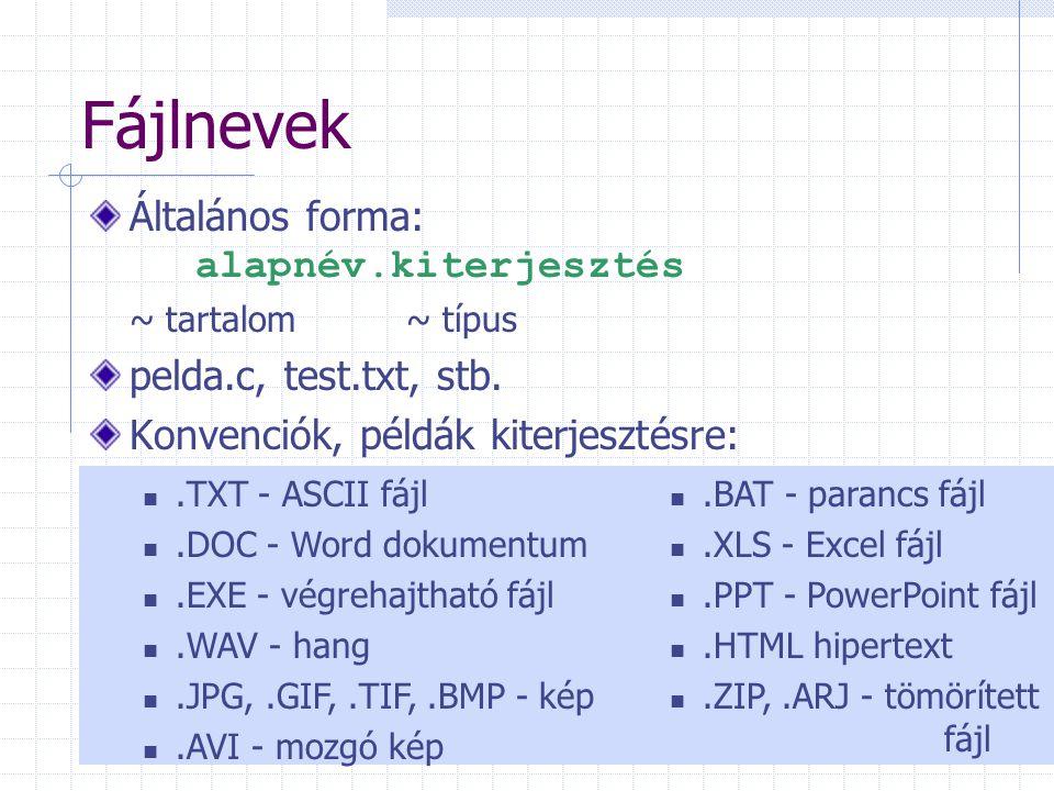 Fájlnevek Általános forma: alapnév.kiterjesztés ~ tartalom~ típus pelda.c, test.txt, stb.