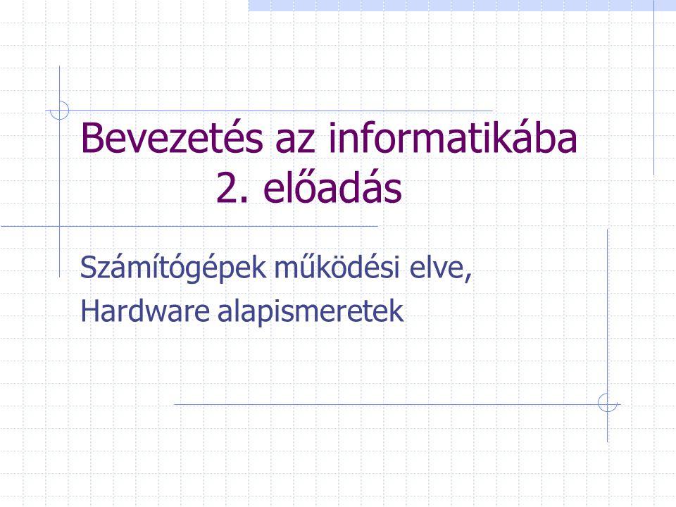 Bevezetés az informatikába 2. előadás Számítógépek működési elve, Hardware alapismeretek
