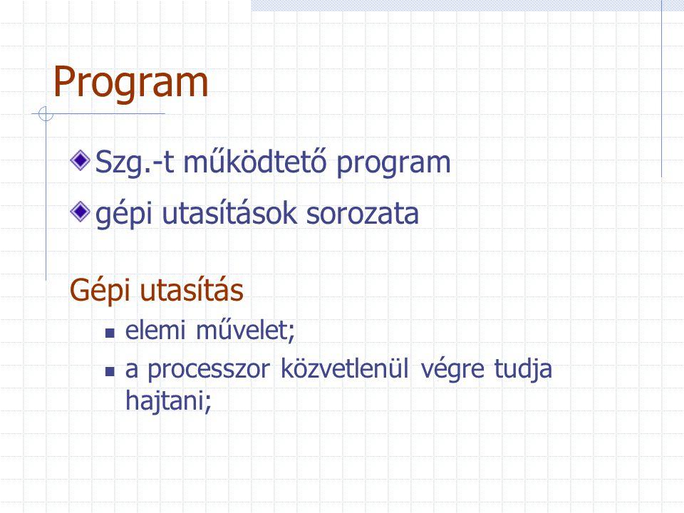 Program Szg.-t működtető program gépi utasítások sorozata Gépi utasítás elemi művelet; a processzor közvetlenül végre tudja hajtani;
