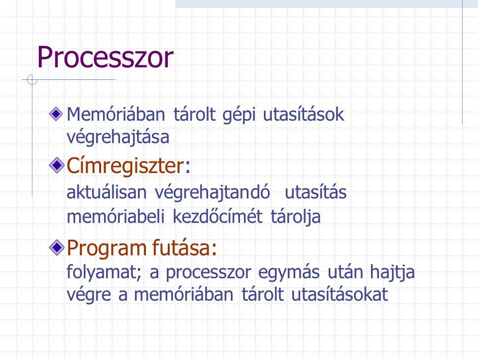 Processzor Memóriában tárolt gépi utasítások végrehajtása Címregiszter: aktuálisan végrehajtandó utasítás memóriabeli kezdőcímét tárolja Program futása: folyamat; a processzor egymás után hajtja végre a memóriában tárolt utasításokat