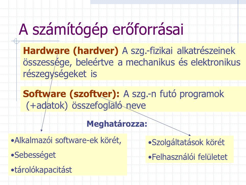 A számítógép erőforrásai Software (szoftver): A szg.-n futó programok (+adatok) összefoglaló neve Hardware (hardver) A szg.-fizikai alkatrészeinek összessége, beleértve a mechanikus és elektronikus részegységeket is Meghatározza: Alkalmazói software-ek körét, Sebességet tárolókapacitást Szolgáltatások körét Felhasználói felületet