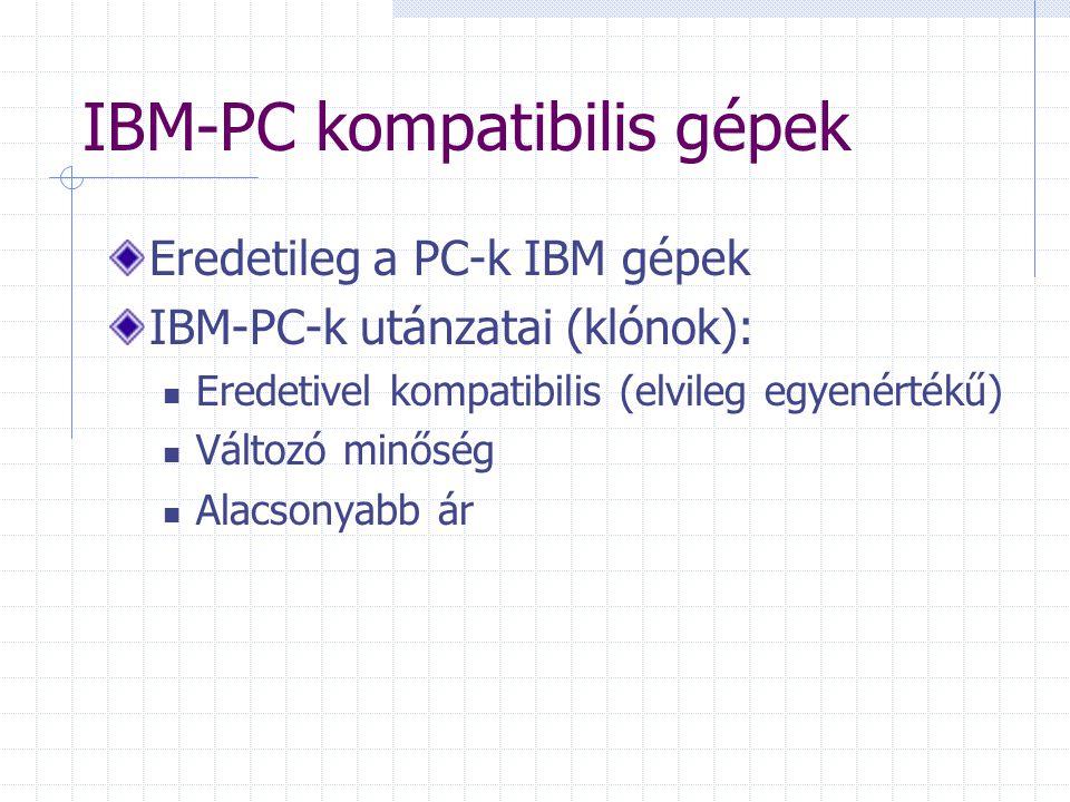 IBM-PC kompatibilis gépek Eredetileg a PC-k IBM gépek IBM-PC-k utánzatai (klónok): Eredetivel kompatibilis (elvileg egyenértékű) Változó minőség Alacsonyabb ár