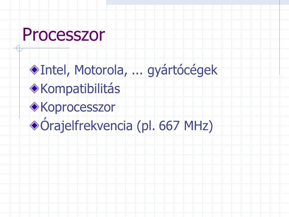 Processzor Intel, Motorola,...gyártócégek Kompatibilitás Koprocesszor Órajelfrekvencia (pl.