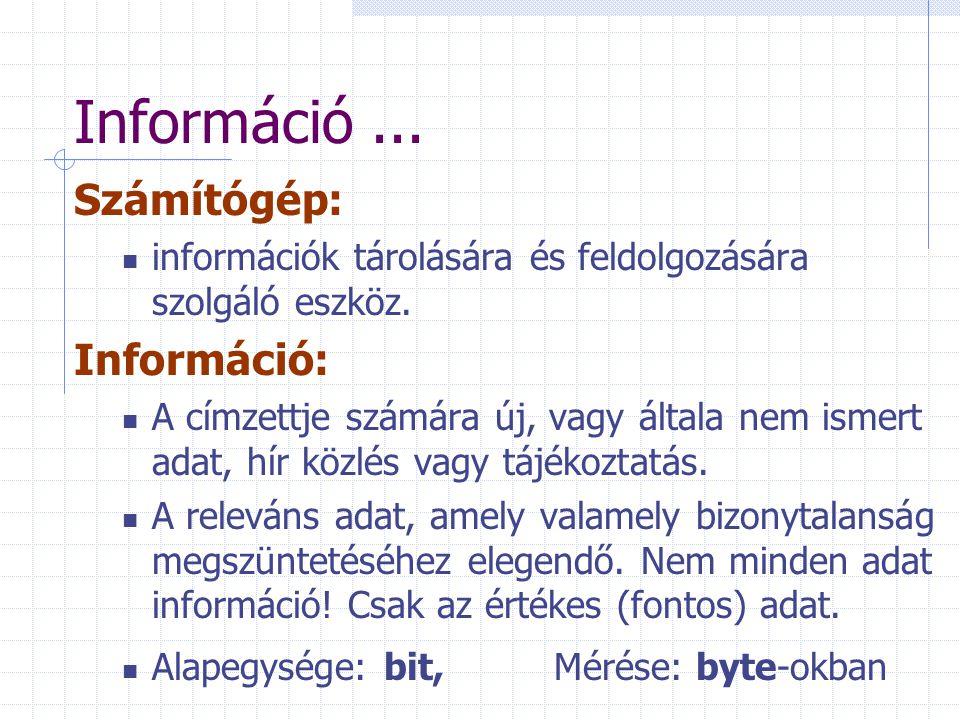 Információ...Számítógép: információk tárolására és feldolgozására szolgáló eszköz.