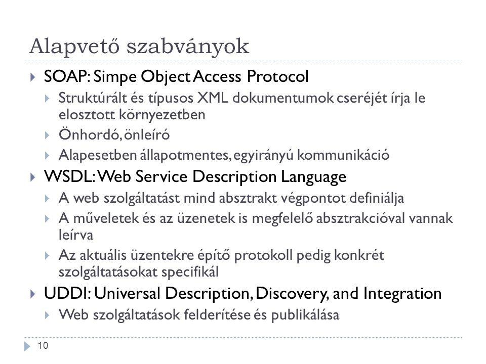 Alapvető szabványok  SOAP: Simpe Object Access Protocol  Struktúrált és típusos XML dokumentumok cseréjét írja le elosztott környezetben  Önhordó,