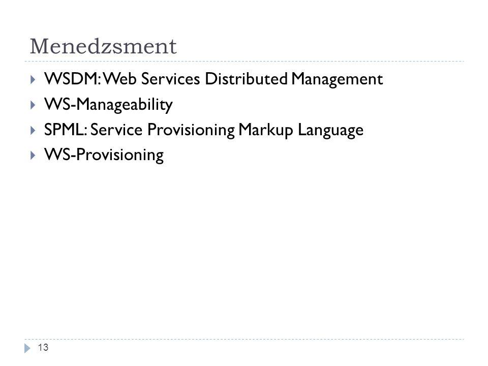 Menedzsment  WSDM: Web Services Distributed Management  WS-Manageability  SPML: Service Provisioning Markup Language  WS-Provisioning 13