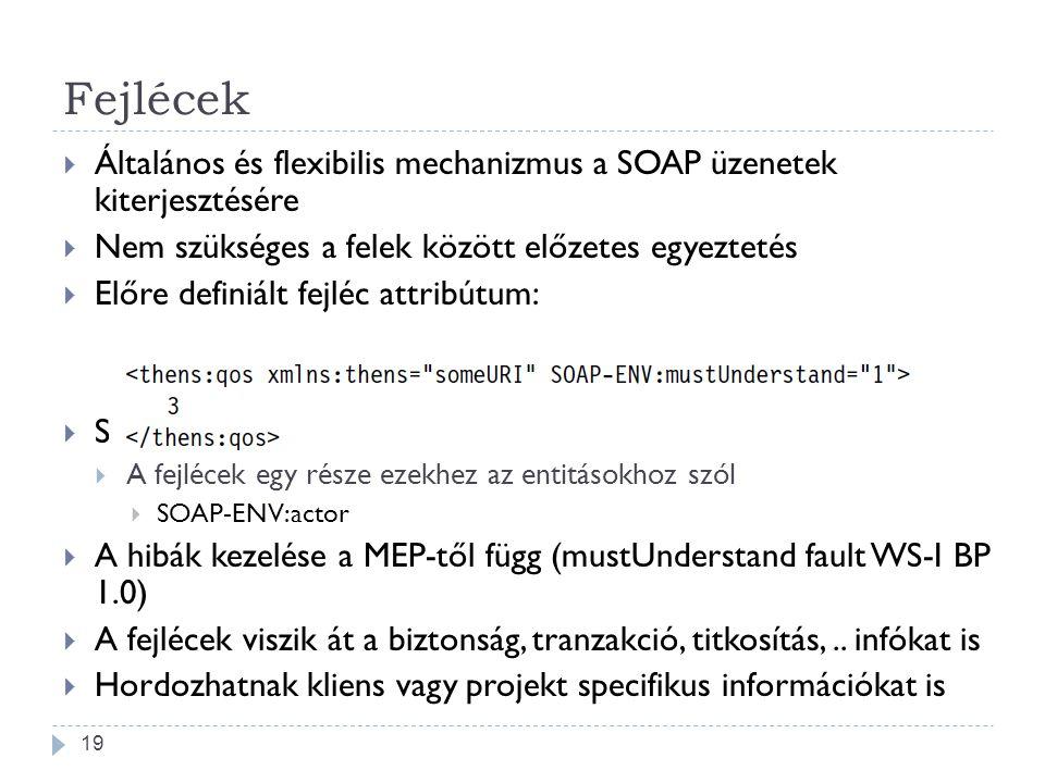 Fejlécek  Általános és flexibilis mechanizmus a SOAP üzenetek kiterjesztésére  Nem szükséges a felek között előzetes egyeztetés  Előre definiált fe