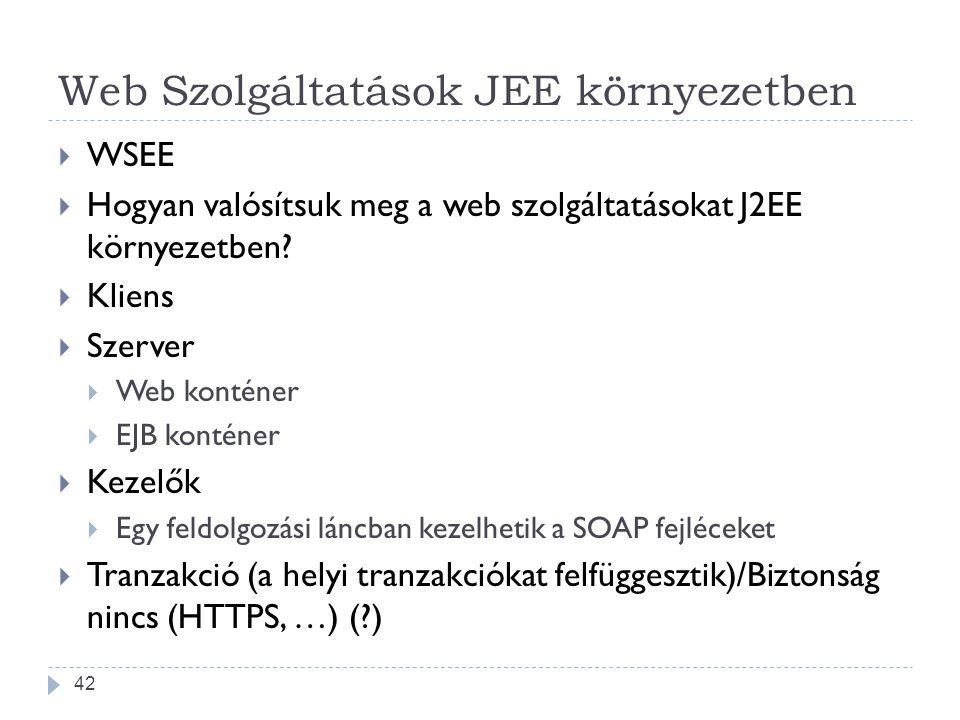 Web Szolgáltatások JEE környezetben  WSEE  Hogyan valósítsuk meg a web szolgáltatásokat J2EE környezetben?  Kliens  Szerver  Web konténer  EJB k