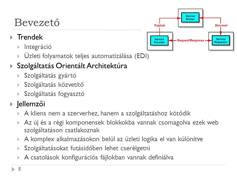 Bevezető  Trendek  Integráció  Üzleti folyamatok teljes automatizálása (EDI)  Szolgáltatás Orientált Architektúra  Szolgáltatás gyártó  Szolgált