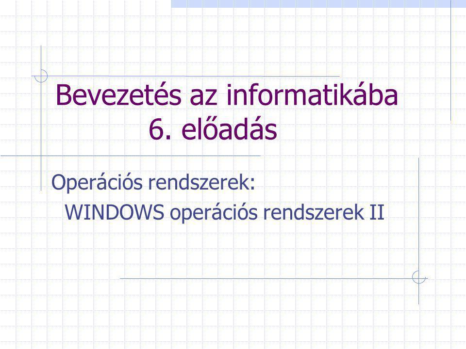 Bevezetés az informatikába 6. előadás Operációs rendszerek: WINDOWS operációs rendszerek II