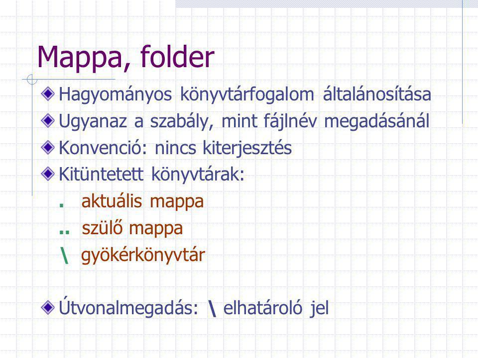 Mappa, folder Hagyományos könyvtárfogalom általánosítása Ugyanaz a szabály, mint fájlnév megadásánál Konvenció: nincs kiterjesztés Kitüntetett könyvtá