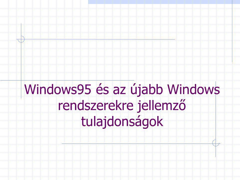 Windows95 és az újabb Windows rendszerekre jellemző tulajdonságok