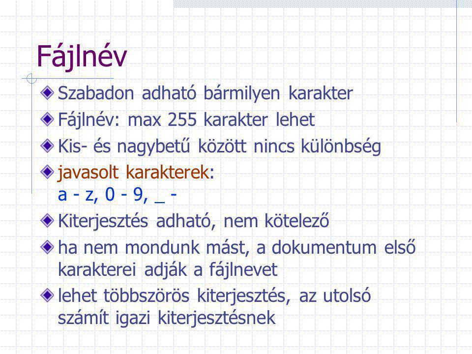Fájlnév Szabadon adható bármilyen karakter Fájlnév: max 255 karakter lehet Kis- és nagybetű között nincs különbség javasolt karakterek: a - z, 0 - 9, _ - Kiterjesztés adható, nem kötelező ha nem mondunk mást, a dokumentum első karakterei adják a fájlnevet lehet többszörös kiterjesztés, az utolsó számít igazi kiterjesztésnek