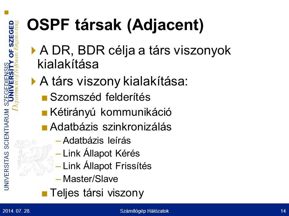 UNIVERSITY OF SZEGED D epartment of Software Engineering UNIVERSITAS SCIENTIARUM SZEGEDIENSIS OSPF társak (Adjacent)  A DR, BDR célja a társ viszonyo