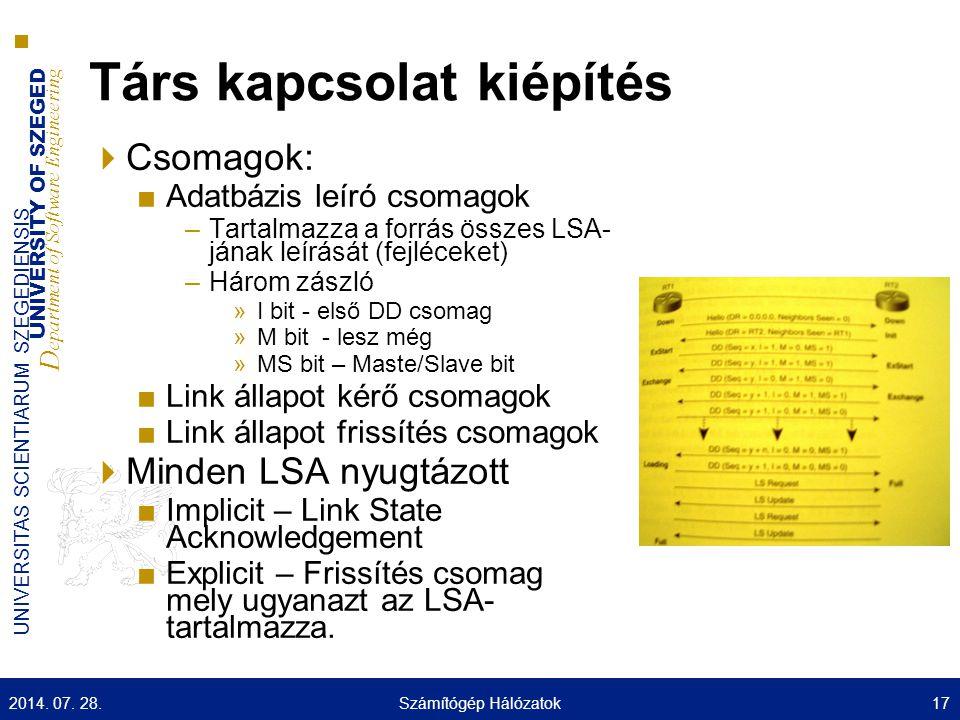 UNIVERSITY OF SZEGED D epartment of Software Engineering UNIVERSITAS SCIENTIARUM SZEGEDIENSIS Társ kapcsolat kiépítés  Csomagok: ■Adatbázis leíró csomagok –Tartalmazza a forrás összes LSA- jának leírását (fejléceket) –Három zászló »I bit - első DD csomag »M bit - lesz még »MS bit – Maste/Slave bit ■Link állapot kérő csomagok ■Link állapot frissítés csomagok  Minden LSA nyugtázott ■Implicit – Link State Acknowledgement ■Explicit – Frissítés csomag mely ugyanazt az LSA- tartalmazza.