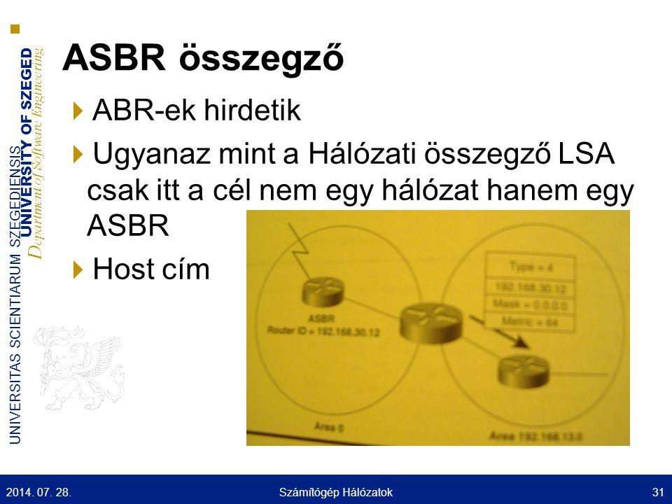 UNIVERSITY OF SZEGED D epartment of Software Engineering UNIVERSITAS SCIENTIARUM SZEGEDIENSIS ASBR összegző  ABR-ek hirdetik  Ugyanaz mint a Hálózati összegző LSA csak itt a cél nem egy hálózat hanem egy ASBR  Host cím 2014.