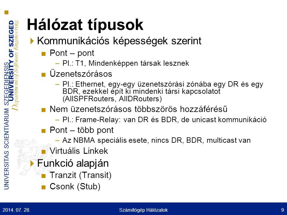 UNIVERSITY OF SZEGED D epartment of Software Engineering UNIVERSITAS SCIENTIARUM SZEGEDIENSIS Hálózat típusok  Kommunikációs képességek szerint ■Pont – pont –Pl.: T1, Mindenképpen társak lesznek ■Üzenetszórásos –Pl.: Ethernet, egy-egy üzenetszórási zónába egy DR és egy BDR, ezekkel épít ki mindenki társi kapcsolatot (AllSPFRouters, AllDRouters) ■Nem üzenetszórásos többszörös hozzáférésű –Pl.: Frame-Relay: van DR és BDR, de unicast kommunikáció ■Pont – több pont –Az NBMA speciális esete, nincs DR, BDR, multicast van ■Virtuális Linkek  Funkció alapján ■Tranzit (Transit) ■Csonk (Stub) 2014.