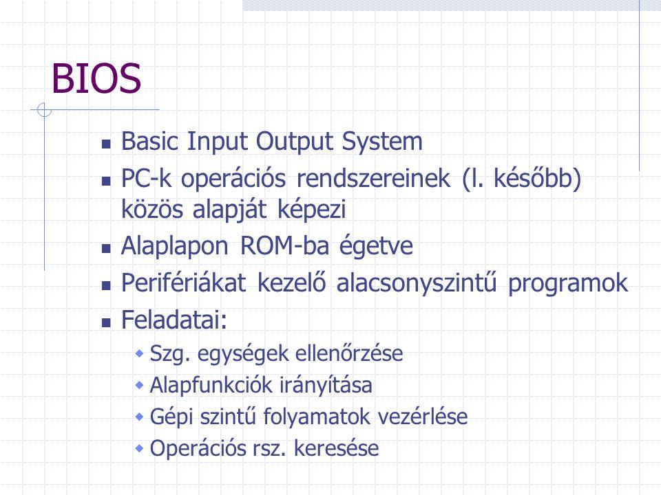BIOS Basic Input Output System PC-k operációs rendszereinek (l.