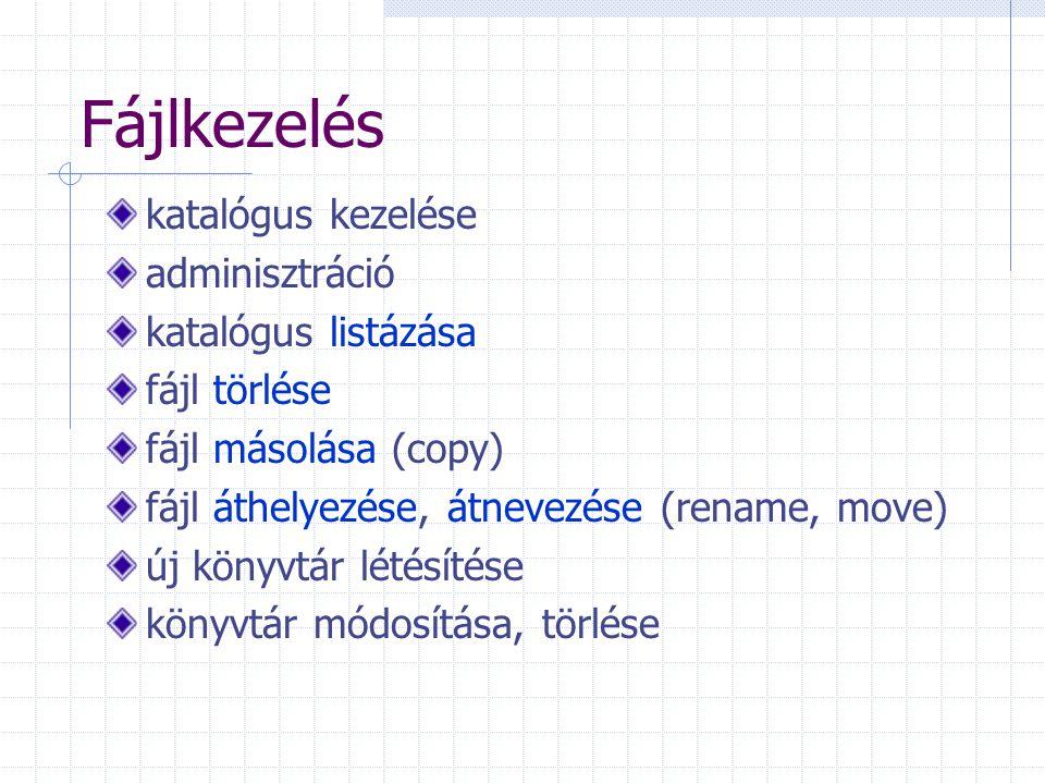 Fájlkezelés katalógus kezelése adminisztráció katalógus listázása fájl törlése fájl másolása (copy) fájl áthelyezése, átnevezése (rename, move) új könyvtár létésítése könyvtár módosítása, törlése