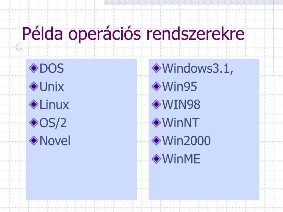 Példa operációs rendszerekre DOS Unix Linux OS/2 Novel Windows3.1, Win95 WIN98 WinNT Win2000 WinME