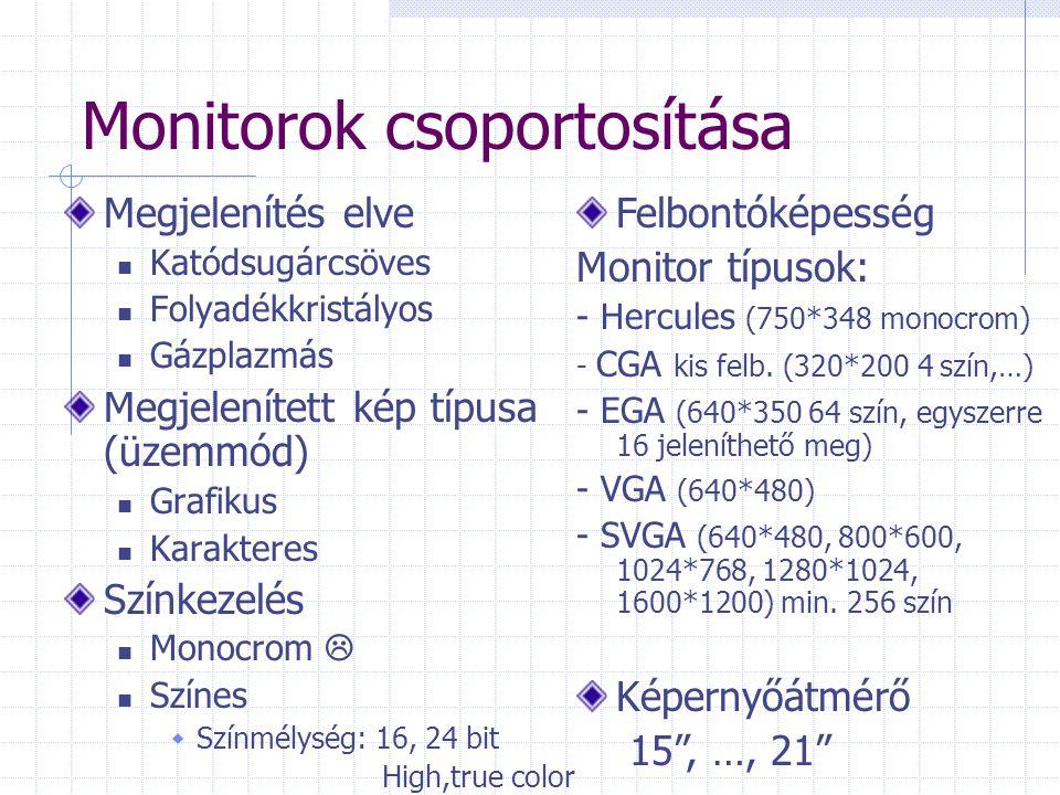 Monitorok csoportosítása Megjelenítés elve Katódsugárcsöves Folyadékkristályos Gázplazmás Megjelenített kép típusa (üzemmód) Grafikus Karakteres Színkezelés Monocrom  Színes  Színmélység: 16, 24 bit High,true color Felbontóképesség Monitor típusok: - Hercules (750*348 monocrom) - CGA kis felb.